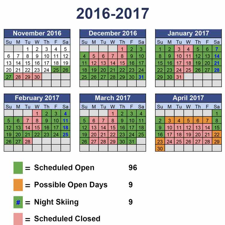 Image of seasonal operations calendar by month.