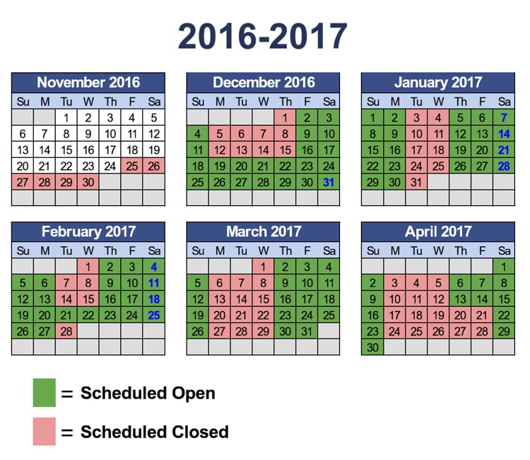 2016-2017 operational calendar by month