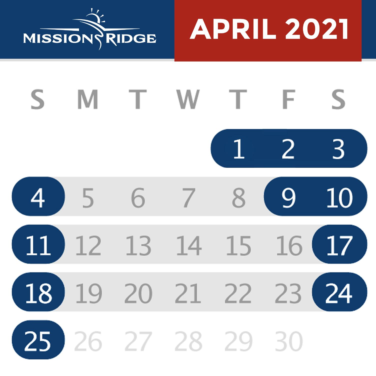 April Calendar with open days highlighted