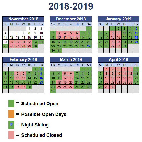Operations calendar with planned open days highlighted