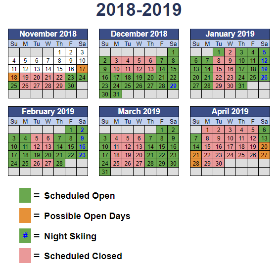 2018/19 operations calendar by month