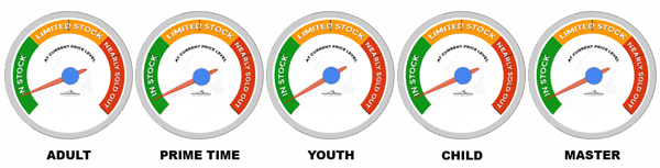 Gauges for each age showing proximity to price increase