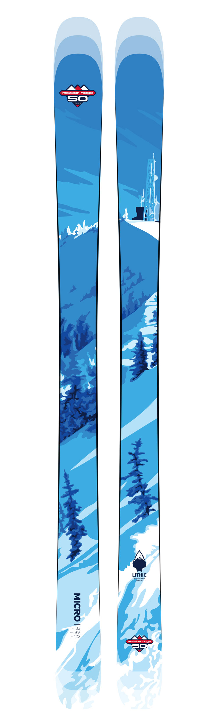Custom ski featuring the view out Windy Ridge
