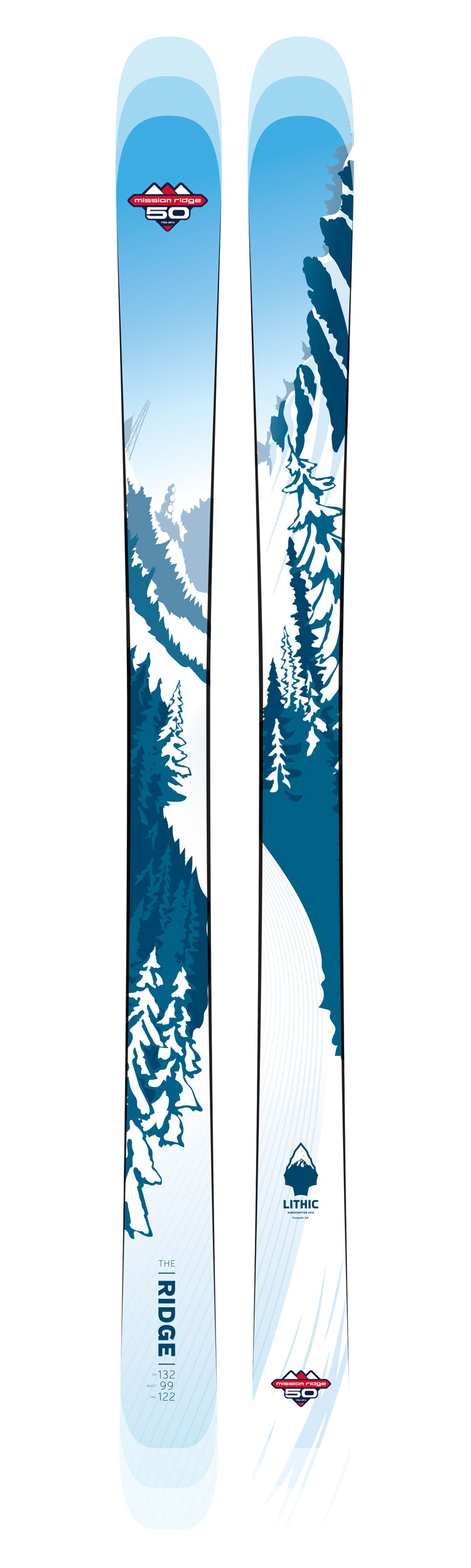 Custom skis featuring an artistic rendering of the Mission Ridge ridgeline.