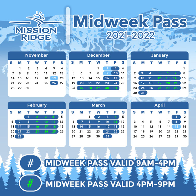 Operations calendar with days highlighted when the Midweek Pass is valid