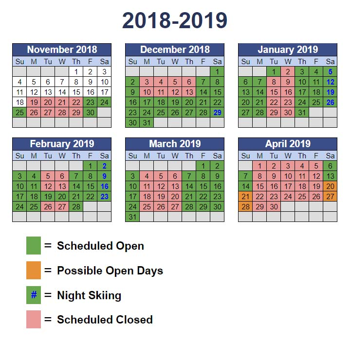 2018/19 operations calendar by month with dates shaded to indicate open or closed