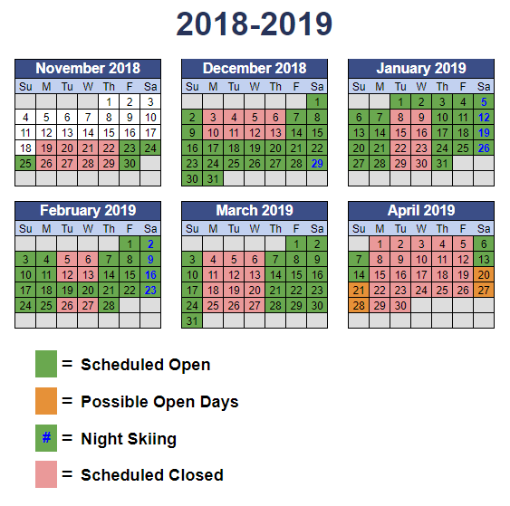 Operations calendar indicating days open during the season
