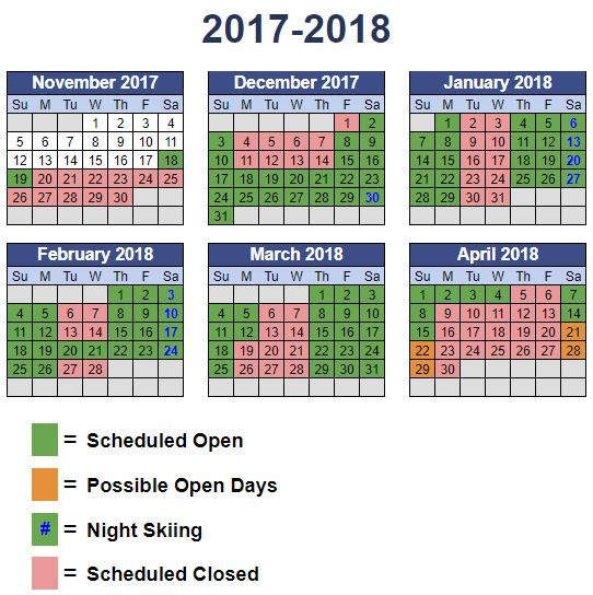Mission Ridge 2017/18 Operations Calendar by month