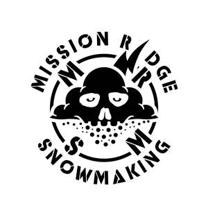 Mission Ridge Snowmaking logo with skull in a cloud blowing snow