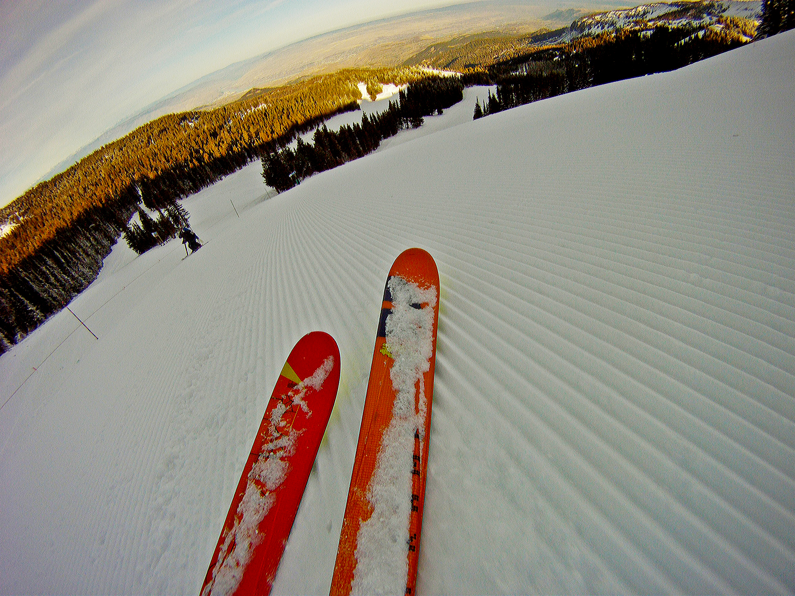 Red skis on fresh groomed snow
