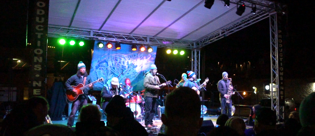 Buzz Brump on stage at Pray For Snow Concert in 2019