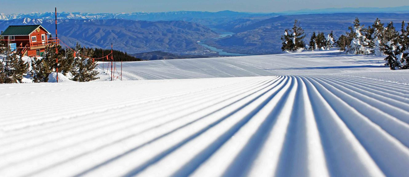 Close up of corduroy with river valley below.