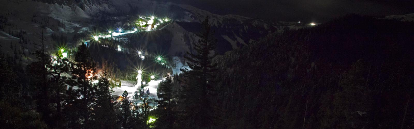 Night Skiing terrain seen from a distance