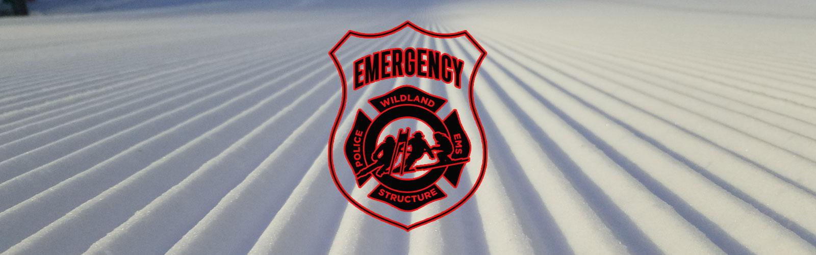 Emergency Personnel Badge on top of a picture of a freshly groomed run.