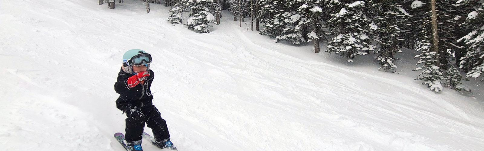 Young skier in powder snow
