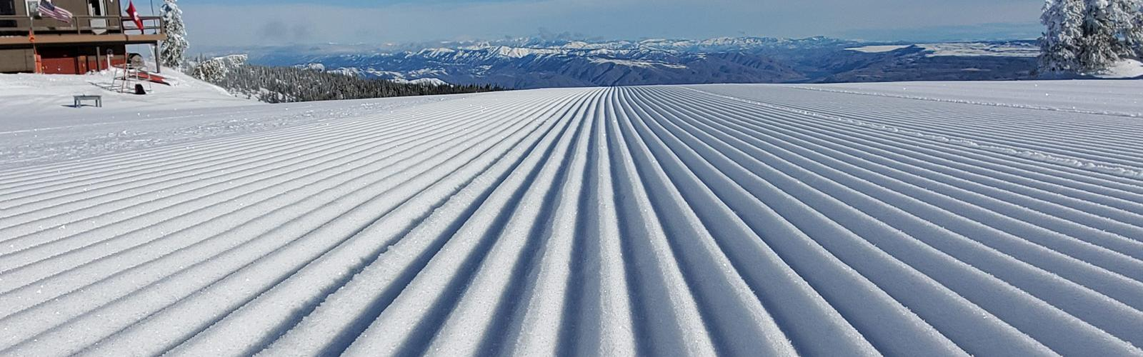 Close up of corduroy with valley view