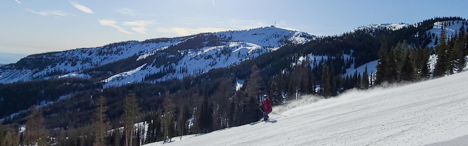 skier making a turn on Bomber Bowl with Microwave tower in background