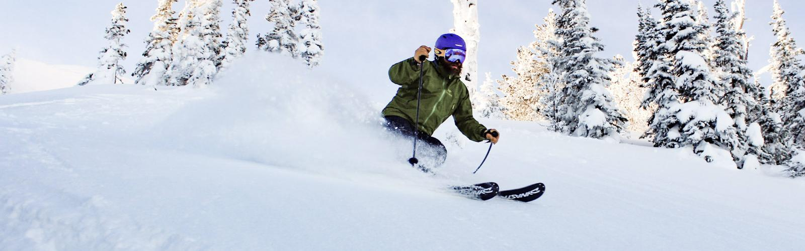 Skier making turn in powder with trees behind