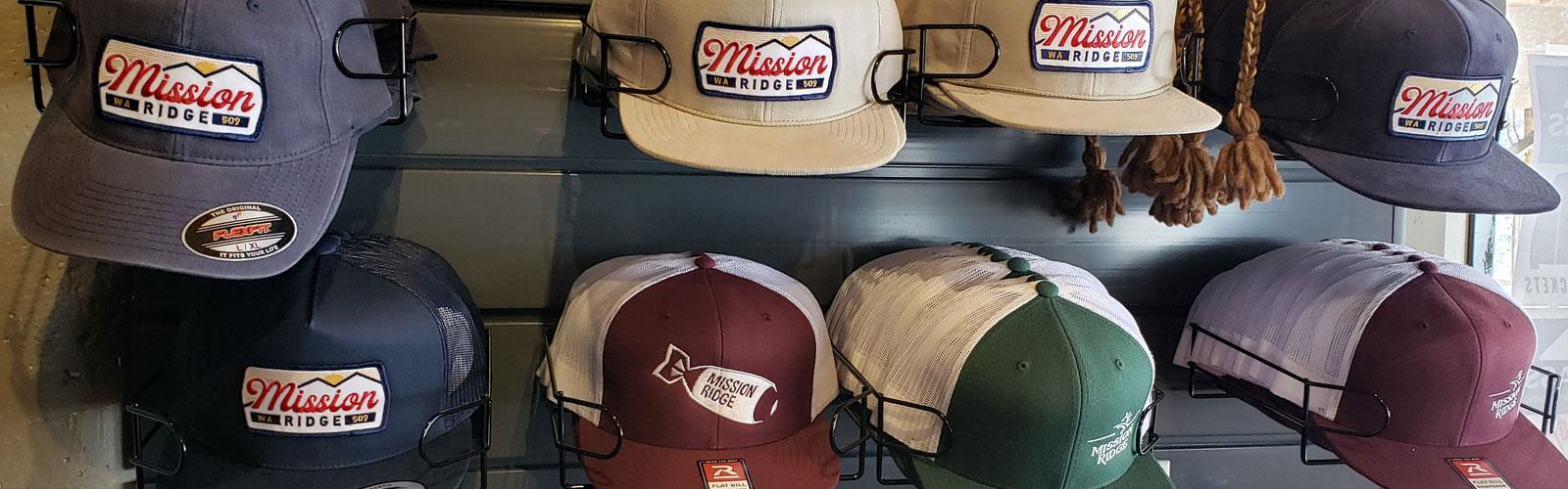 Row of Mission Ridge Logo Hats