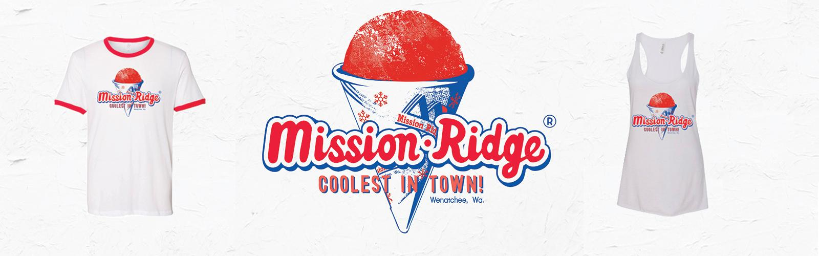 "Snow cone graphic ""Mission Ridge, Coolest In Town"" with apparel beside"