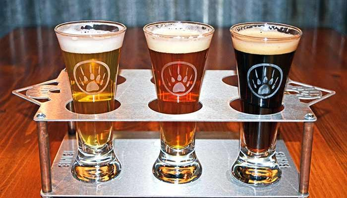 Flight of three sample beers from badger mountain