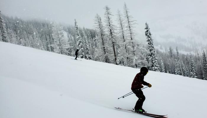 2 skiers on a stormy day