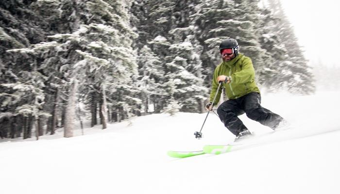 skier skiing fresh groomer with trees in background