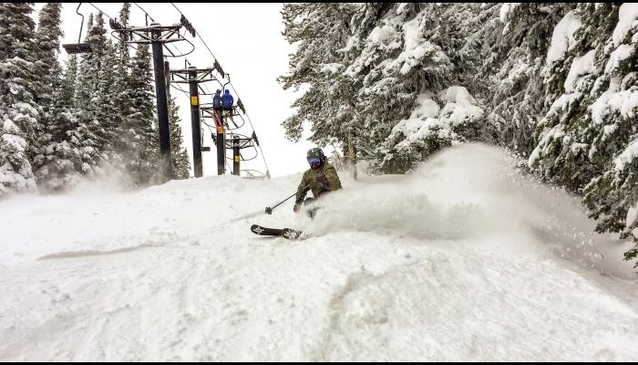 skier in fresh snow with trees and ski lift in background