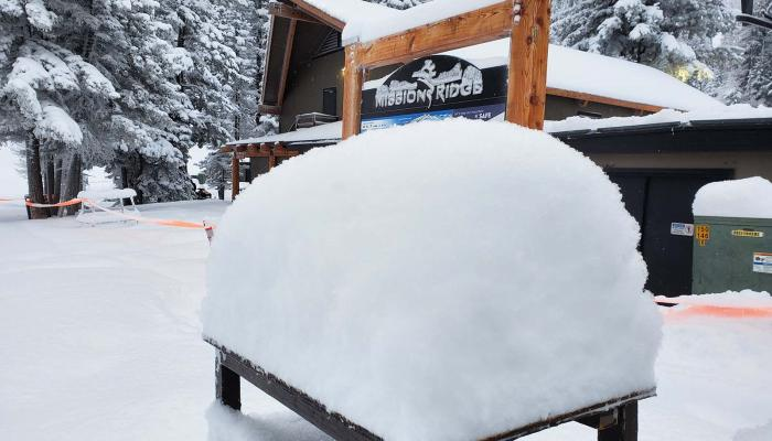 """Snow stacked up on trash can lid showing 23"""" in 24 hours of new snow"""
