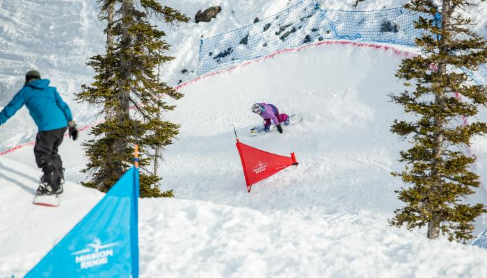 Snowboarders on banked slalom course