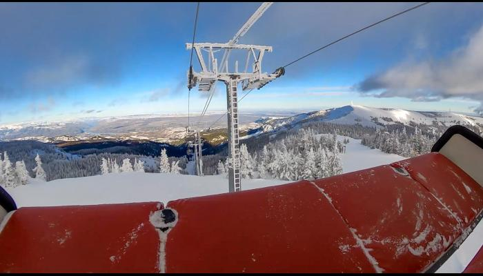 Picture from a chair on the Wenatchee Express looking down to the valley