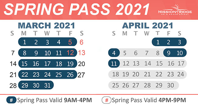 Calendar with Spring Pass valid dates highlighted