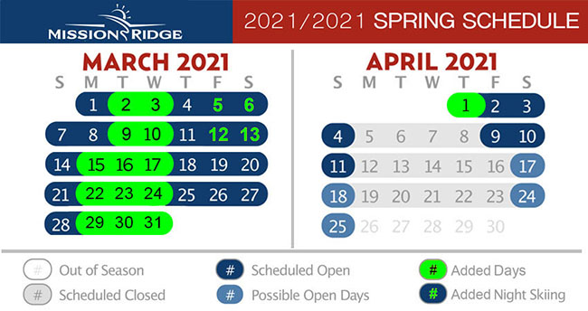 Calendar showing planned operating days in March and April